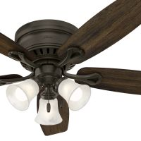 Hunter Fan 52 Inch Bronze Traditional Ceiling Fan with Swirled Marble glass Light Kit (Certified Refurbished)