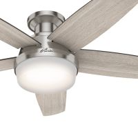 Hunter Fan 48 inch Low Profile Brushed Nickel Ceiling Fan with LED Light Kit and Remote Control (Certified Refurbished)