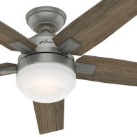 Hunter Fan 52 inch Contemporary Matte Silver Indoor Ceiling Fan with Light Kit and Remote Control (Renewed)