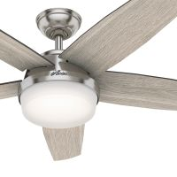Hunter Fan 52 inch Contemporary Brushed Nickel Indoor Ceiling Fan with Light Kit and Remote Control (Certified Refurbished)